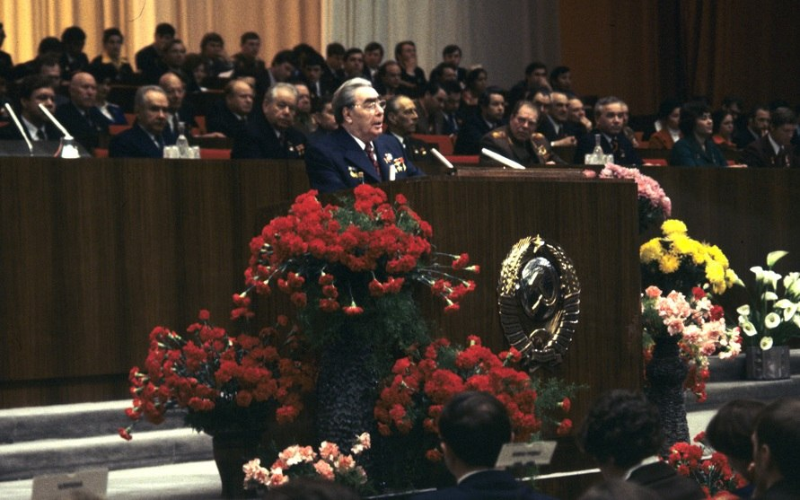 RIAN archive 417888 Leonid Brezhnev speaks at 18th Komsomol Congress opening