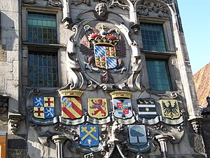Gemeenlandshuis - Heraldic shields of the Delft Water Board members in 1645, the year that the Water Board bought this house for board meetings, on the facade of the Gemeenlandshuis in Delft.