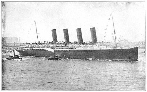 May 7: WWI: RMS Lusitania, sunk by a German U-boat. RMS Luisitania.jpg