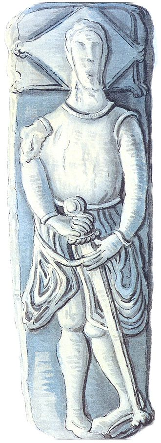 Raymond FitzGerald - 14th century tomb effigy of Raymond le Gros at Molana Abbey, now lost, as drawn by Daniel Grose (1766-1838)