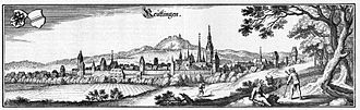 Reutlingen - Reütlingen - excerpt from Topographia Sueviae (Swabia), publishes 1643 by Matthäus Merian the Elder, Swiss copperplate engraver and publisher