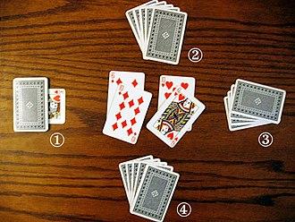 Durak - A game of regular durak in progress 1 – deck, 2 – first attacker, 3 – defender, 4 – next attacker