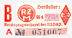 Reichszeugmeisterei - RZM label from a Hitler Youth armband