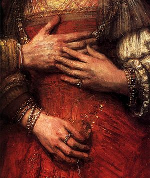 The Jewish Bride - Image: Rembrandt The Jewish Bride (detail) WGA19160