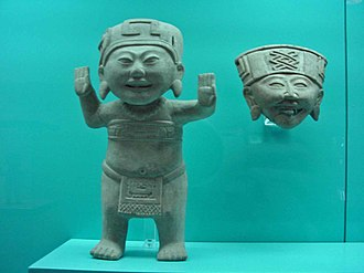 Remojadas - A Sonrientes figurine (curiously, with two right hands), and a head in the Remojadas style, 300 CE to 900 CE.
