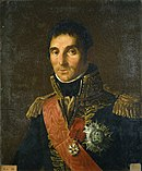 Painting of a heavily decorated man in a blue military uniform. The dour-looking man has dark hair and deep, heavily lidded eyes.