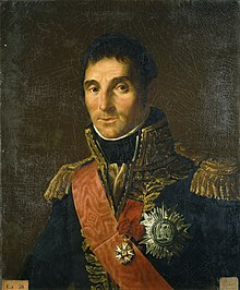 Painting shows an unsmiling man in a dark blue marshal's uniform with a red sash, much gold braid, and at least two decorations on his chest.