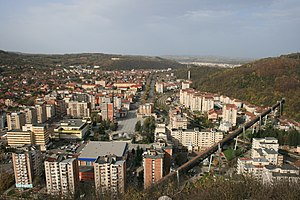Reșița - Reșița downtown and distant view of Govândari neighborhood.