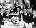 Restaurant, tableau, men, meal, drinking, fruit, sandwich Fortepan 6350.jpg