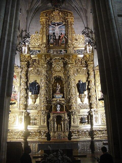 Actual retablo mayor barroco de la iglesia del Monasterio de Santa María la Real de Nájera