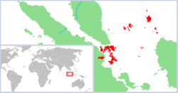 The dominion of Riau-Lingga Sultanate in red, including many islands in the South China Sea and enclaves on mainland Sumatra.