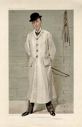 """Richard Verney, 19th Baron Willoughby de Broke - """"An MFH with a sense of humour"""". Caricature by Spy published in Vanity Fair in 1905"""