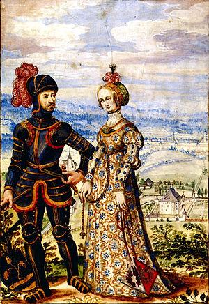 Khevenhüller - Knight Ulrich (ca. 1430–1492) and his wife Anna née von Kellerberg with Mörtenegg Castle and the church of St. Martin nr. Villach.
