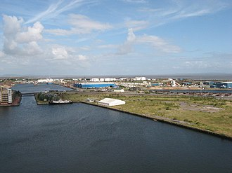 Roath Lock - Roath Basin (nearest), Roath Dock (above) with the channel to Queen Alexandra Dock (centre right).