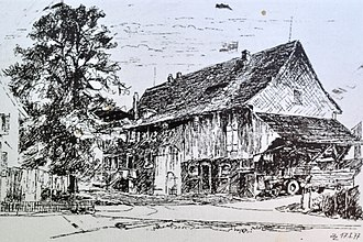 Jakob Messikommer - Messikommer's birthplace on an drawing by Jakob Zollinger, dated 17 May 1877