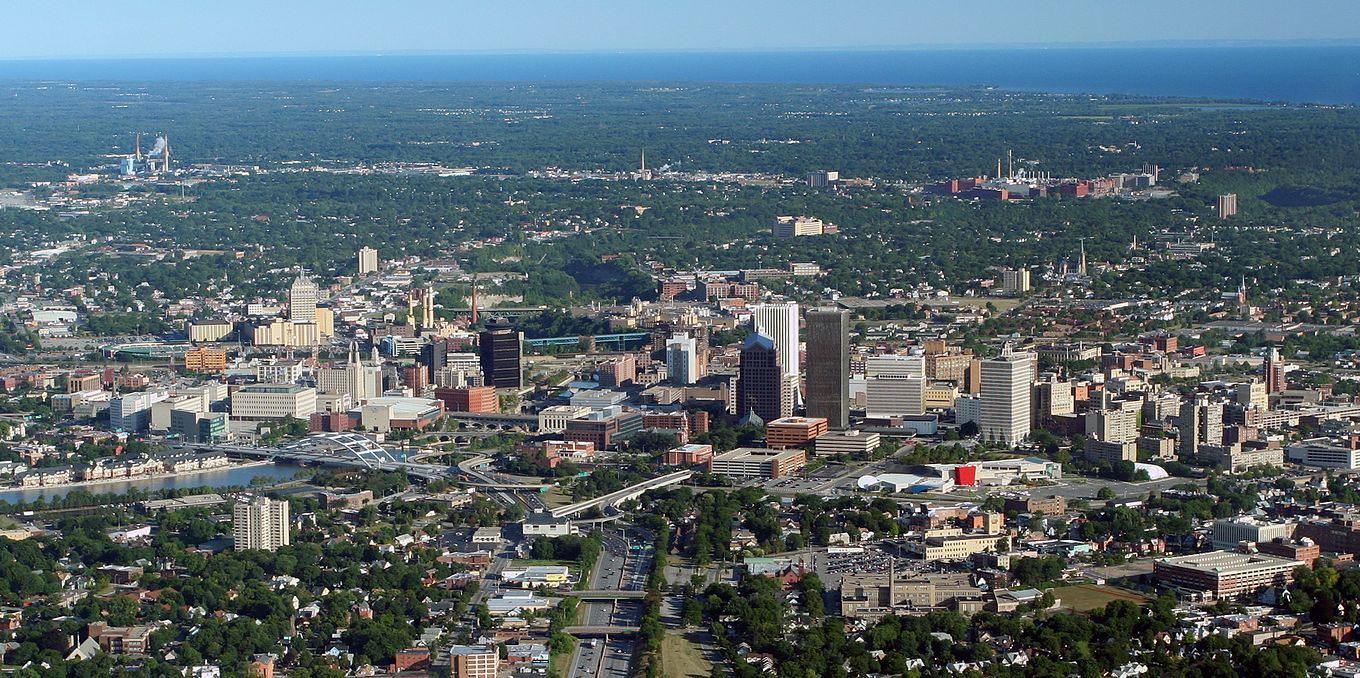 Downtown Rochester as seen from the air in August 2007 Rochester aerial aug 17 2007.jpg