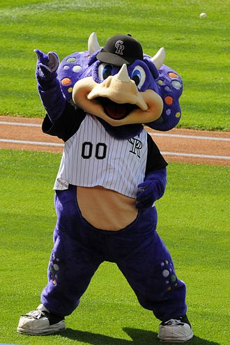 "History of the Colorado Rockies - The mascot ""Dinger"" dinosaur."