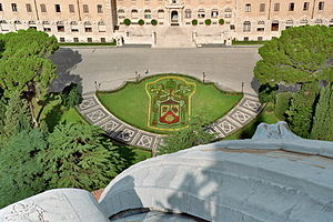 Coat of arms of Pope Benedict XVI - Pope's arms with a tiara, Vatican Garden