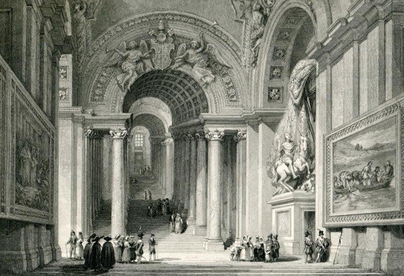 Roma Vatican Scala Regia c1835