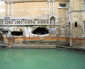 English: Roman Baths, Bath. The 'sacred pool' ...