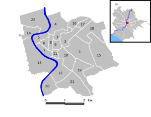 Administrative subdivision of Rome - A map of Rome's historic center with its Rioni.