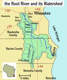 Racine Wisconsin Map.Root River Wisconsin Wikipedia