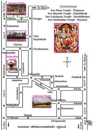 Thirumoozhikkulam Lakshmana Perumal Temple - Image: Route Map of Nalambalam Yathra