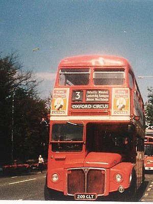 London Buses route 3 - AEC Routemaster at Crystal Palace in August 1986
