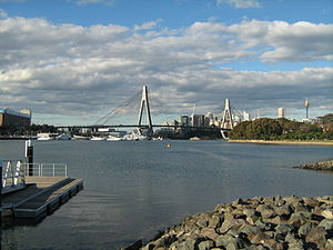 Rozelle Bay - View of Rozelle Bay and the Anzac Bridge from Federal Park.