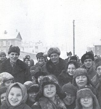 East Karelian concentration camps - Finnish military personnel and non-Finnic people of East Karelia at a transfer camp in Petrozavodsk during the visit of a Swiss correspondent in the final phases of the war