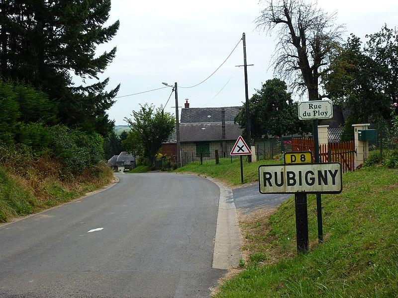 Rubigny (Ardennes) city limit sign