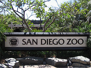 Sign at the entrance of the San Diego Zoo. Cat...