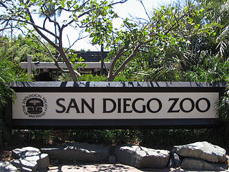 "San Diego Zoo Global - Entrance sign for the San Diego Zoo in 2005, featuring the Zoological Society of San Diego's ""Tree of Life"" logo used from 1974–2010"