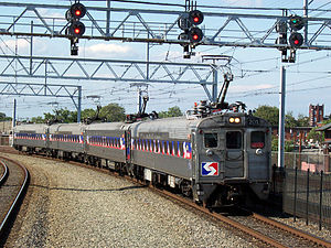 SEPTA Regional Rail - Train of Silverliner II and III cars entering the Temple University Station in May 2006