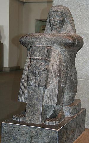 Block statue - Image: S F E Cameron Scribe British Museum