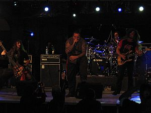 Sadist (band) - From left to right: Andy, Trevor, Alessio, Tommy performing live in Yerevan, Armenia, 2008