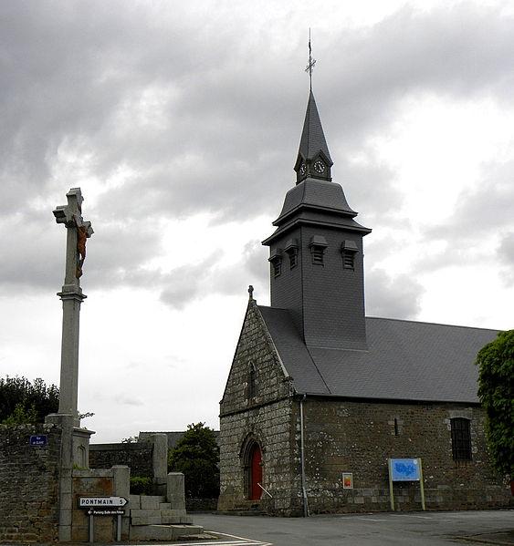 Église Saint-Ellier de Saint-Ellier-du-Maine (53). Façade occidentale et flanc sud.