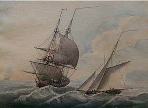 "Samuel Atkins - ""Frigate in a swell"", circa 1800."