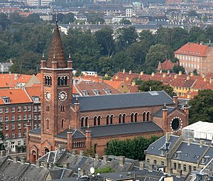 St. Paul's Church, Copenhagen - Image: Sankt Pauls Kirke Copenhagen from above