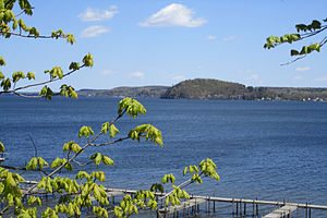 Saratoga Lake - Saratoga Lake from the southwest with a view of Snake Hill