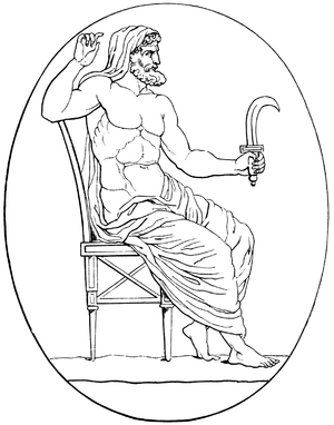 Titan (mythology) - Cronus armed with sickle; after a carved gem (Aubin-Louis Millin de Grandmaison, Galerie mythologique, 1811).