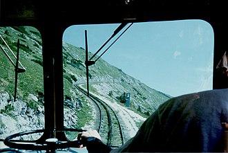 Schafberg Railway - Image: Schafbergbahn view fron cab going up