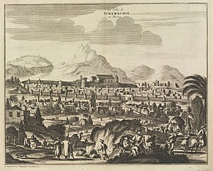 """Sack of Shamakhi (1721) - Illustration entitled """"La Ville de Schamachie en Perse"""", published in 1729 by Pieter van der Aa"""