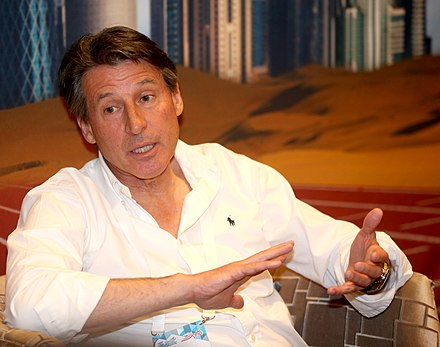 President Sebastian Coe during a media session at the 2015 Doha Diamond League Sebastian Coe 2015.jpg
