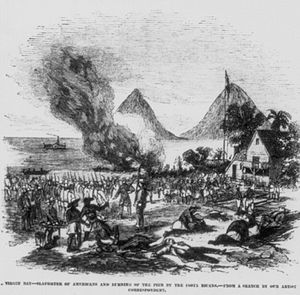 Piracy on Lake Nicaragua - A sketch of the 1856 Costa Rican attack at the port of Rivas on Lake Nicaragua.
