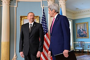 Ilham Aliyev - Aliyev and U.S. Secretary of State John Kerry in Washington, D.C., 30 March 2016