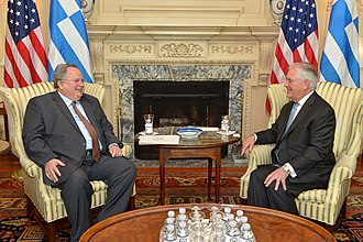 Nikos Kotzias - Kotzias with U.S. Secretary of State Rex Tillerson, 13 March 2017