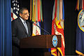 Secretary of Defense Leon E. Panetta speaks during a promotion ceremony and National Guard Bureau (NGB) change of responsibility event Sept 120907-Z-DZ751-472.jpg