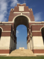 Secretary of State for Northern Ireland Karen Bradley MP represents HMG at a commemorative event at the Thiepval Memorial, laying a wreath in remembrance. (28367125047).png