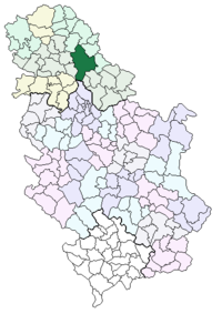 Location of the municipality of Zrenjanin within Serbia